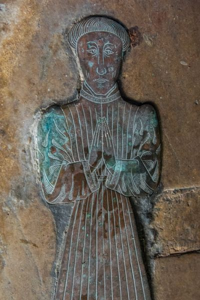 Childrey, St Mary's Church photo, William Walrond  memorial brass (c. 1480)