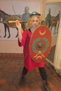 Dressing up as a Roman soldier, Corinium Museum