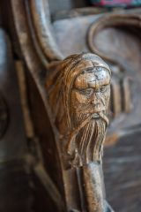 A Green Man bench end in St Margaret's church