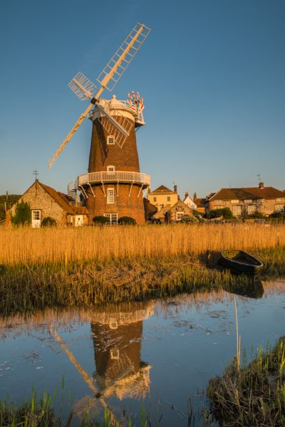 Cley next the Sea photo, The windmill reflected in the River Glaven