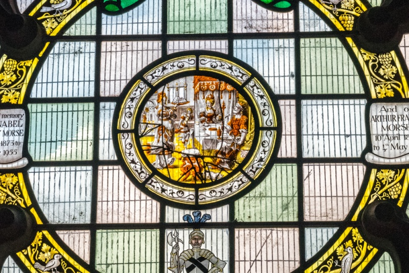 Medieval Flemish glass in the circular north window