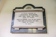 The chancel is full of wall tablets to the Walker family