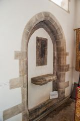 Corfe Castle, St Edward the Martyr Church, Blocked doorway and Robert Abbot memorial