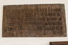 Corfe Castle, St Edward the Martyr Church, 15th century tablet to Robert and Johanna Rynkyn
