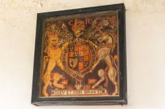 Corfe Castle, St Edward the Martyr Church, Charles II royal coat of arms, 1660