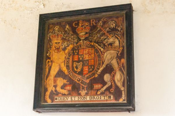 Corfe Castle, St Edward the Martyr Church photo, Charles II royal coat of arms, 1660