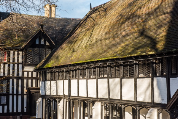 The timber framed facade of the Old School