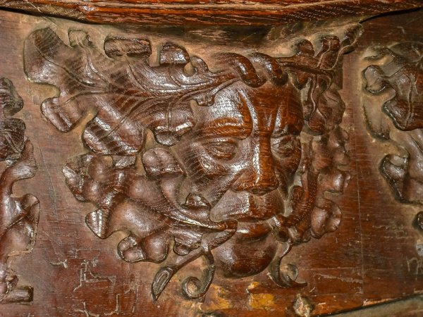 Green Man misericord in the choir