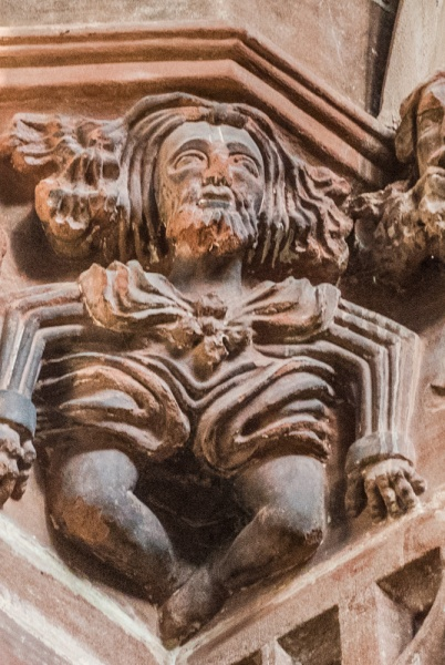 Grotesque medieval carving on the nave arcade