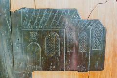 Depiction of Cowthorpe church from the Roucliffe brass