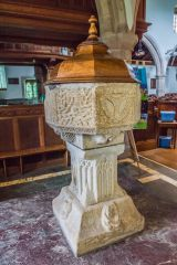 The ornately carved 1395 font