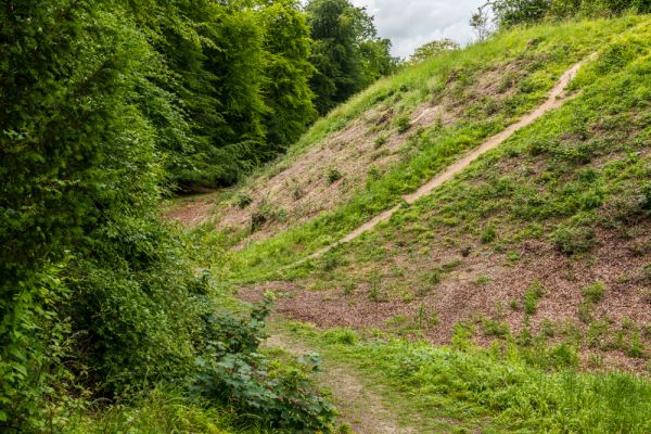 Danebury Iron Age Hillfort photo, The inner ditch and bank
