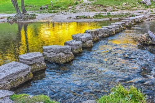 Stepping stones across the River Dove