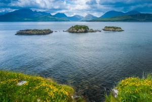 View from the castle wall to the Cuillins