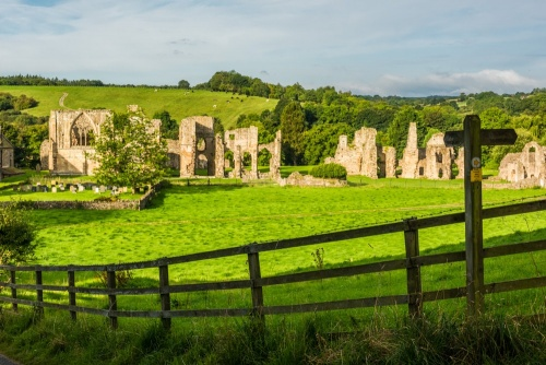 Looking down on Easby Abbey