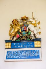 East Lulworth, St Andrew's Church, The restored 18th century royal coat of arms