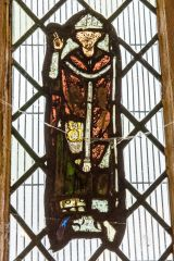 13th century stained glass of a bishop