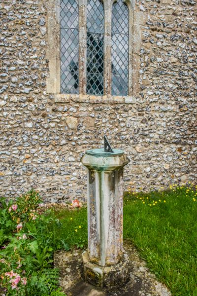 East Wellow, St Margaret's Church photo, The sundial made from a medieval font