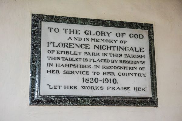 East Wellow, St Margaret's Church photo, Florence Nightingale memorial plaque