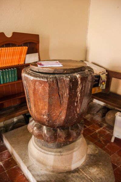 Efenechtyd, St Michael's Church photo, Another view of the medieval oak font