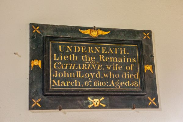 Efenechtyd, St Michael's Church photo, Wooden memorial to Catherine Lloyd, 1810