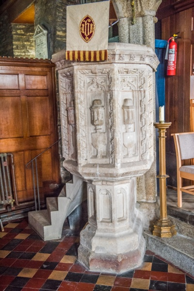The beautifully carved 15th century pulpit