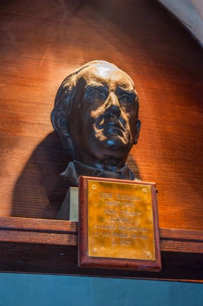 Oxford, Exeter College photo, Bust of JRR Tolkein outside the chapel