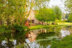 A picturesque cottage reflected in the River Wensum