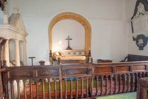 17th century Communion rails and Saxon arch