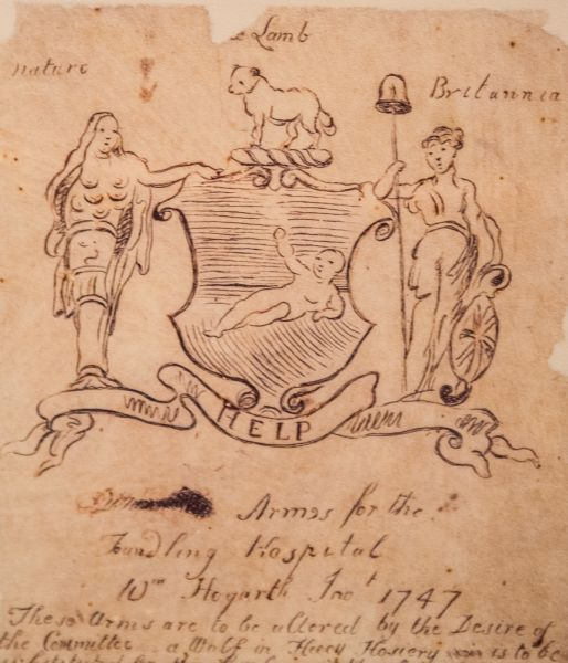 Foundling Museum photo, William Hogarth's sketch for the Hospital's coat of arms