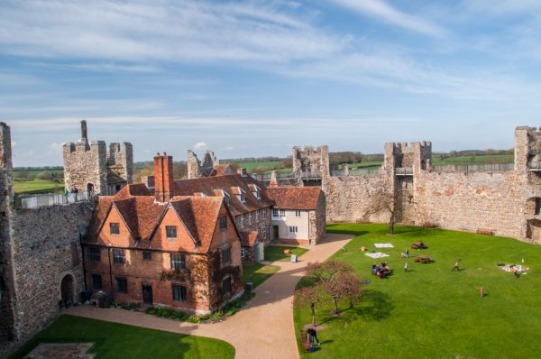 Framlingham Castle photo, Looking down from the castle parapet