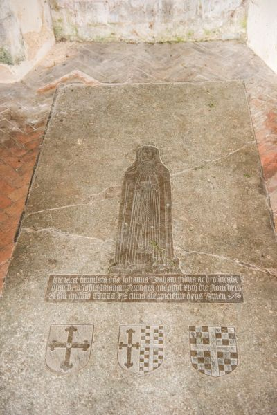 Frenze, St Andrew's Church photo, Johanna Barham brass (d. 1519)