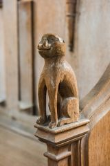 Frenze, St Andrew's Church, 15th century monkey carving on the prayer desk