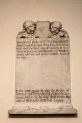 All Saints Church, Fulham, Sir Thomas Kinsey memorial (1696)