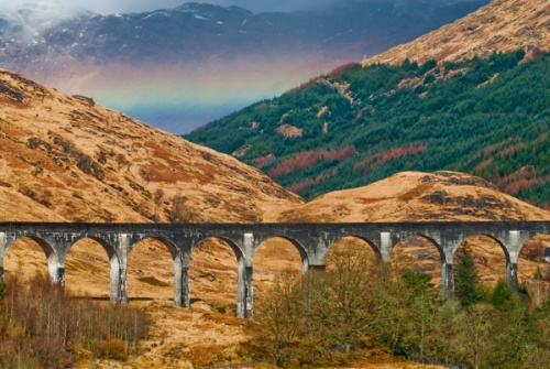 A rainbow over the Glenfinnan Viaduct