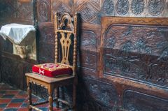 The superbly carved chancel panelling