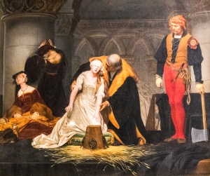 The Execution of Lady Jane Grey in the Tower of London, by Paul Delaroche, in the Guildhall Art Gallery