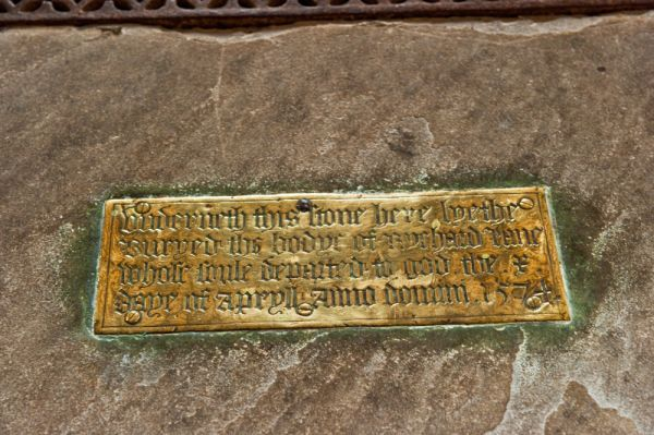 Gussage All Saints Church photo, Memorial brass to Richard Lane (d. 1574)