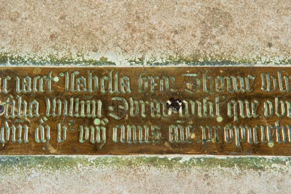 Gussage All Saints Church photo, Memorial brass to Isabella Whitwood (d. 1508)