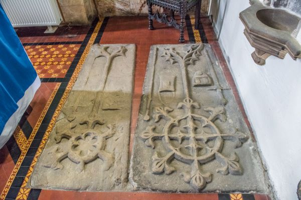 Haltwhistle, Holy Cross Church photo, Medieval Thirlwell family grave slabs
