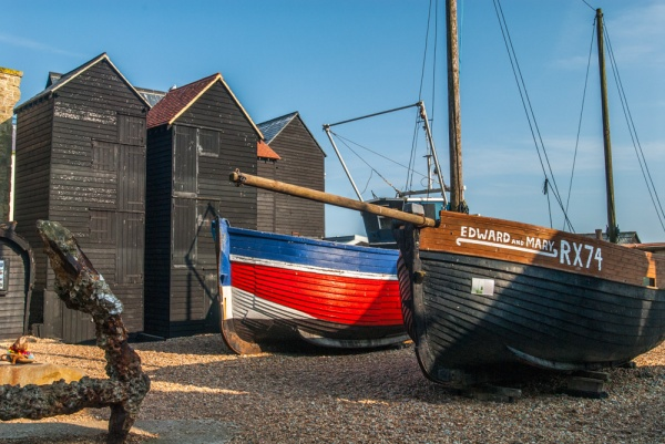 Fishing boats and net stores outside the Fishermen's Museum in Hastings