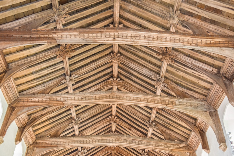 The beautifully carved 15th century timber roof