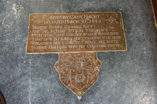 Hellington, St John the Baptist Church photo, Sir Anthony Gaudy memorial brass, 1642