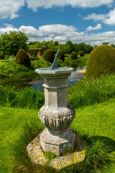 Helmingham Hall Gardens photo, A sundial in the west garden