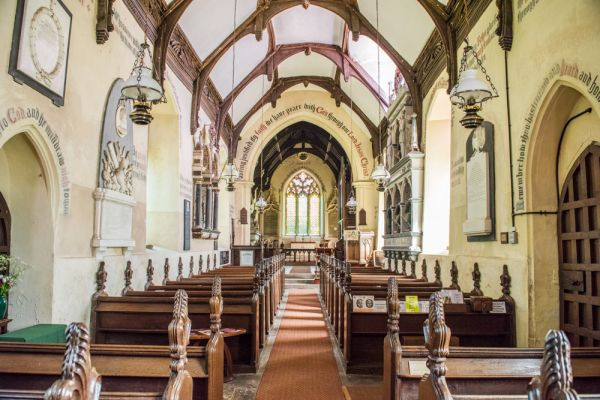 Helmingham, St Mary's Church photo, Looking east towards the chancel