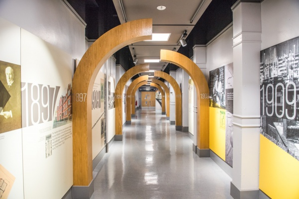 De Montfort University history timeline tunnel