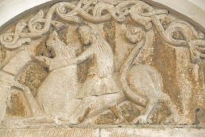 Detail of carving on the 12th century Norman tympanum