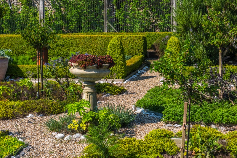 The formal garden beside the moat