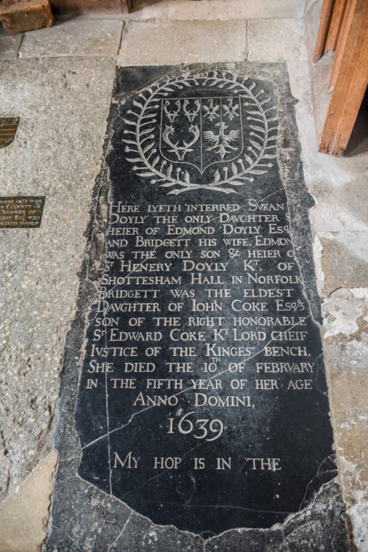 Grave slab of Susan Doyly, d. 1639