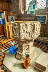 Holt, St Chad's Church, The beautifully carved medieval font